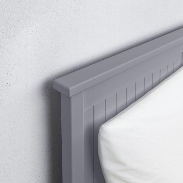 HEMNES Letto divano/3 cassetti/2 materassi, grigio/Moshult rigido, 80x200 cm