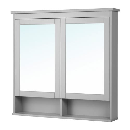 hemnes mobile a specchio con 2 ante grigio 103x16x98 cm ikea. Black Bedroom Furniture Sets. Home Design Ideas