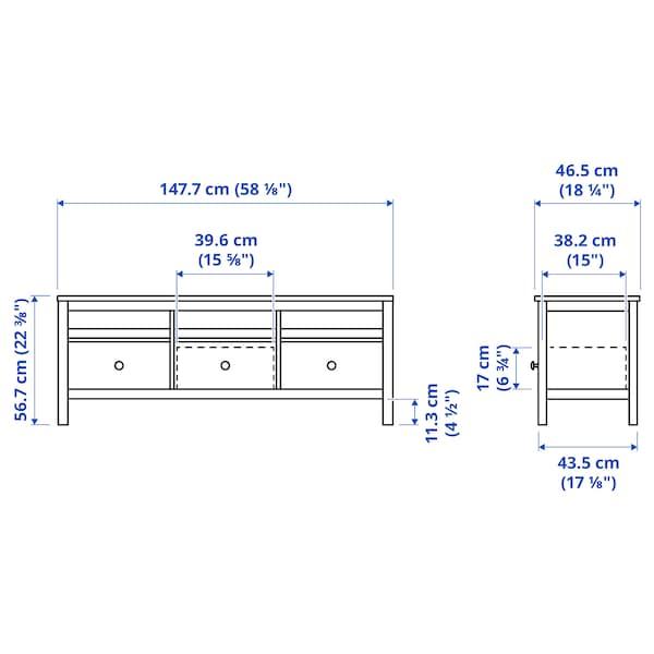 HEMNES Mobile TV, mordente bianco/marrone chiaro, 148x47x57 cm