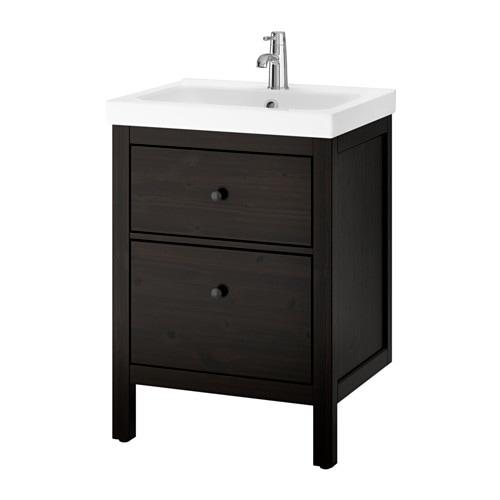 Hemnes odensvik mobile per lavabo con 2 cassetti mordente marrone nero ikea - Ikea hemnes bagno ...