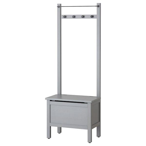 HEMNES Panca/contenitore/portasciugamani, grigio, 64x37x173 cm