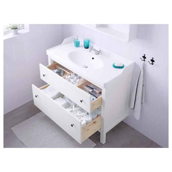 HEMNES / RÄTTVIKEN Mobile per lavabo con 2 cassetti, bianco/Miscel Runskär, 102x49x89 cm