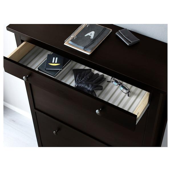 HEMNES Scarpiera a 2 scomparti, marrone-nero, 89x127 cm