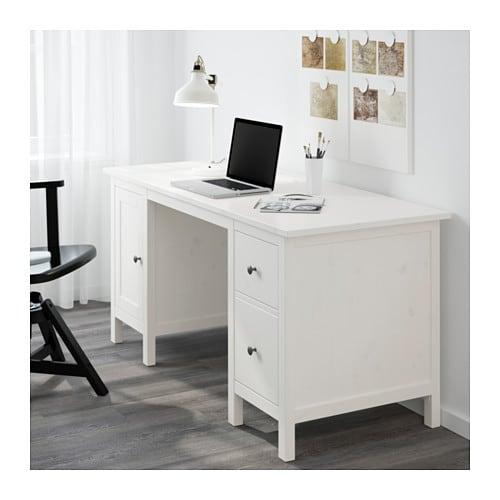 Hemnes scrivania mordente bianco ikea for Piano scrivania ikea