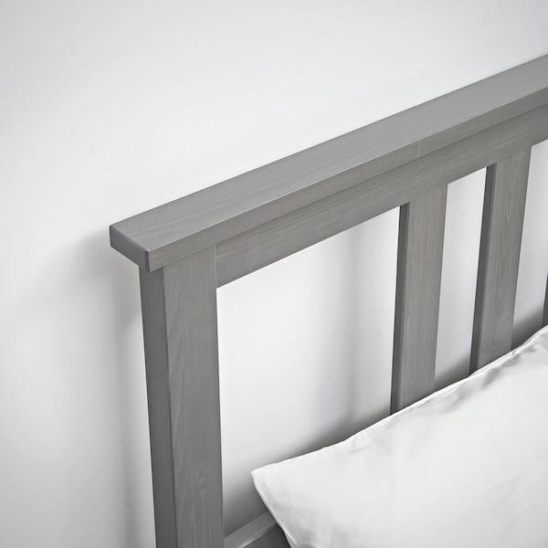 HEMNES Struttura letto, grigio trattato con mordente/Luröy, 160x200 cm