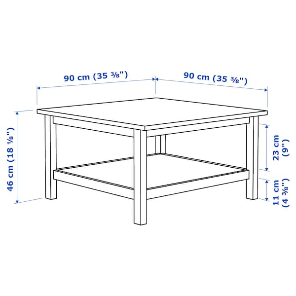 HEMNES Tavolino, mordente bianco/marrone chiaro, 90x90 cm