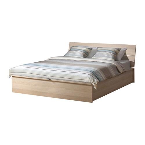Herdla struttura letto con contenitore bianco effetto - Letto matrimoniale legno bianco ...
