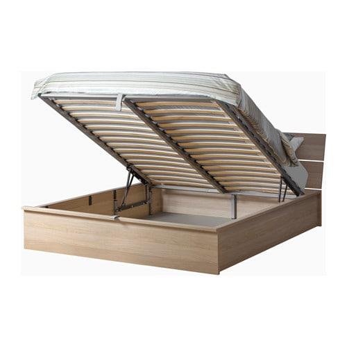 Herdla struttura letto con contenitore bianco effetto rovere con mordente 160x200 cm ikea - Letto a cassettone ...