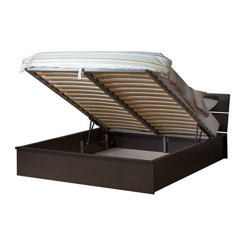 HERDLA Struttura letto con contenitore - marrone-nero, 140x200 cm - IKEA