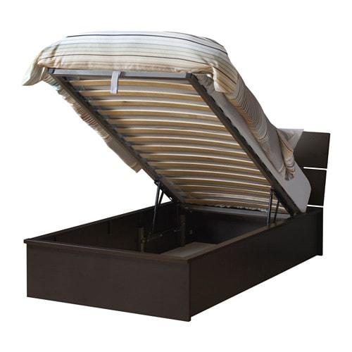 Herdla struttura letto con contenitore marrone nero ikea - Ikea letto singolo contenitore ...