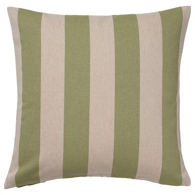 HILDAMARIA Fodera per cuscino, verde naturale/a righe, 50x50 cm