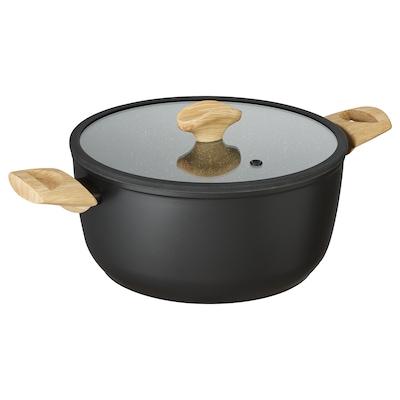HUSKNUT Pentola con coperchio, nero, 5 l