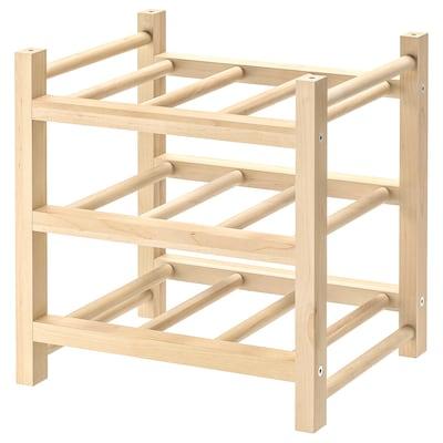 HUTTEN Portabottiglie, 9 scomparti, legno massiccio