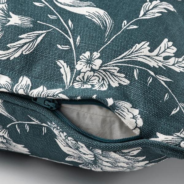 IDALINNEA Fodera per cuscino, blu/bianco/motivo floreale, 50x50 cm