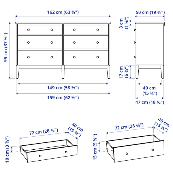 IDANÄS Cassettiera con 6 cassetti, bianco, 162x95 cm