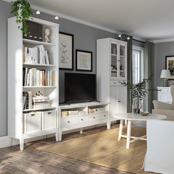 IDANÄS Combinazione per TV, vetro/bianco, 325x40x211 cm