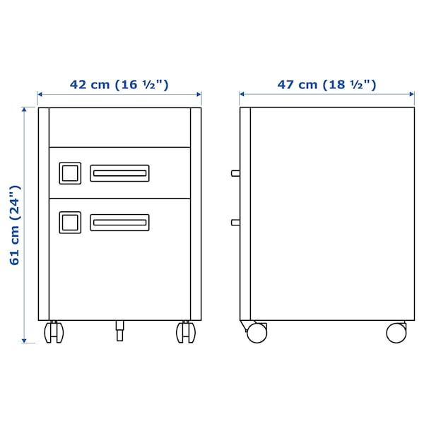 IDÅSEN Cassettiera con serratura smart, ocra bruna, 42x61 cm