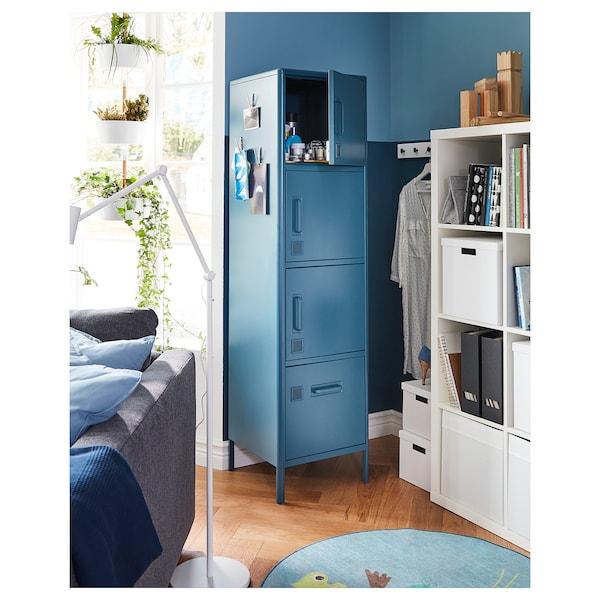 IDÅSEN Mobile alto con cassetto e ante, blu, 45x172 cm