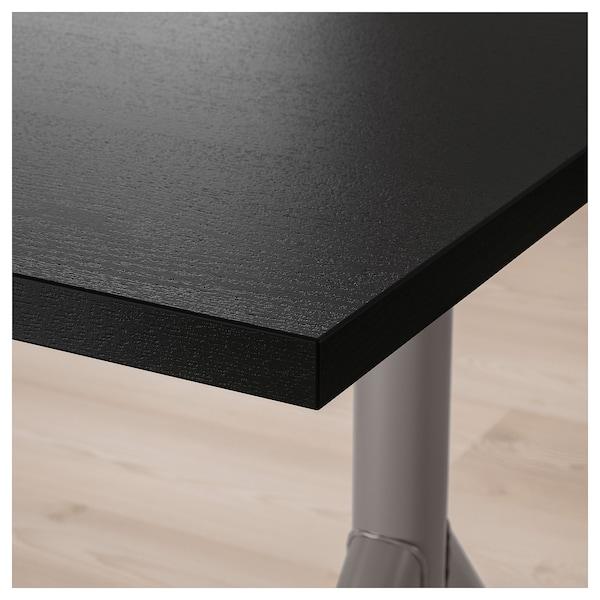 IDÅSEN Scrivania, nero/grigio scuro, 160x80 cm