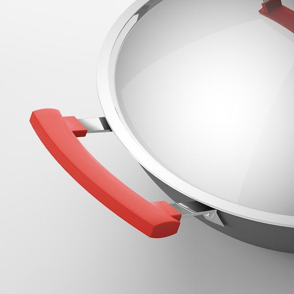 IDENTISK Wok con coperchio, grigio scuro/alluminio, 32 cm