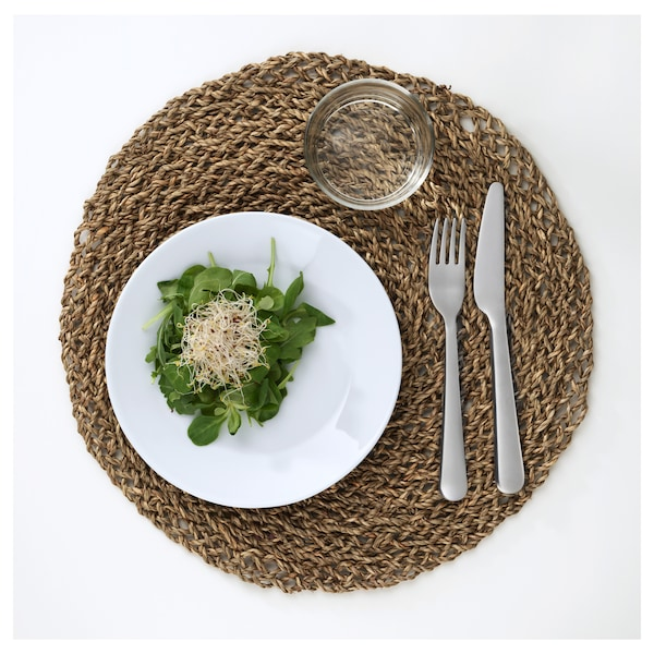 IHÅLLIG Tovaglietta all'americana, naturale/pianta erbacea, 37 cm