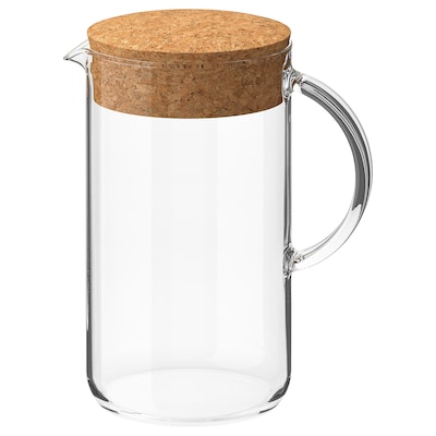IKEA 365+ Brocca con coperchio, vetro trasparente/sughero, 1.5 l