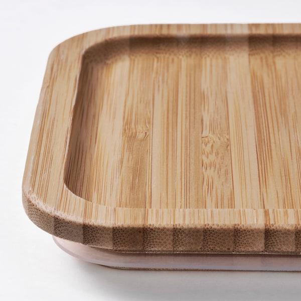 IKEA 365+ Contenitore con coperchio, rettangolare inox/bambù, 1.0 l