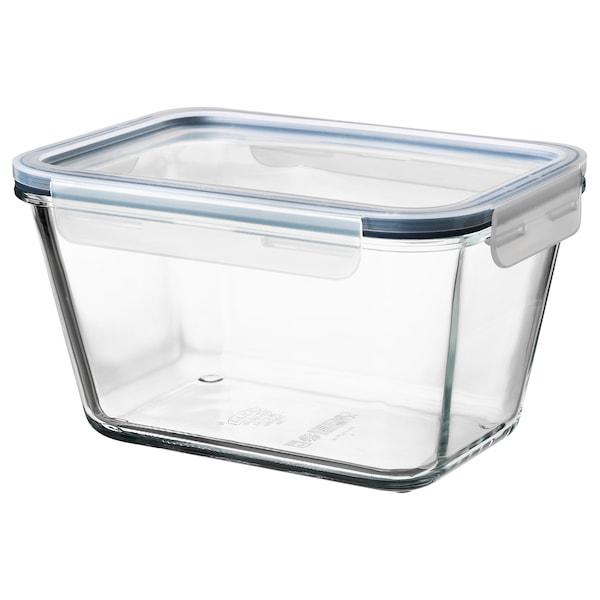 IKEA 365+ Contenitore con coperchio, rettangolare vetro/plastica, 1.8 l