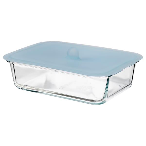 IKEA 365+ Contenitore con coperchio, rettangolare vetro/silicone, 1.0 l