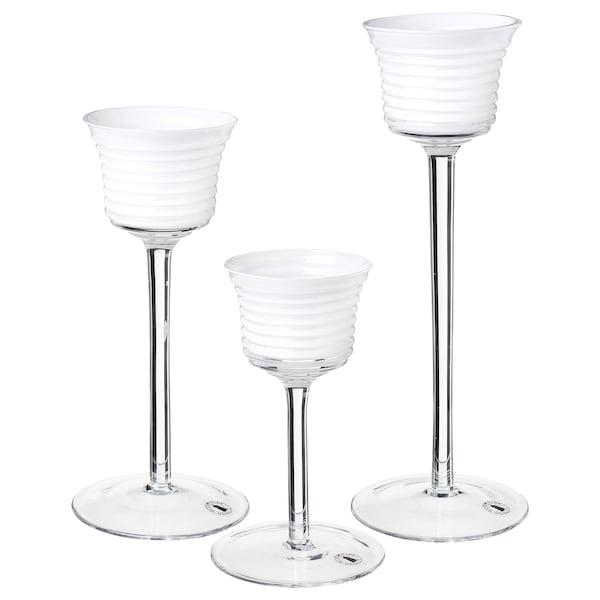 INBJUDEN Set di 3 portacandeline, vetro trasparente/vetro bianco