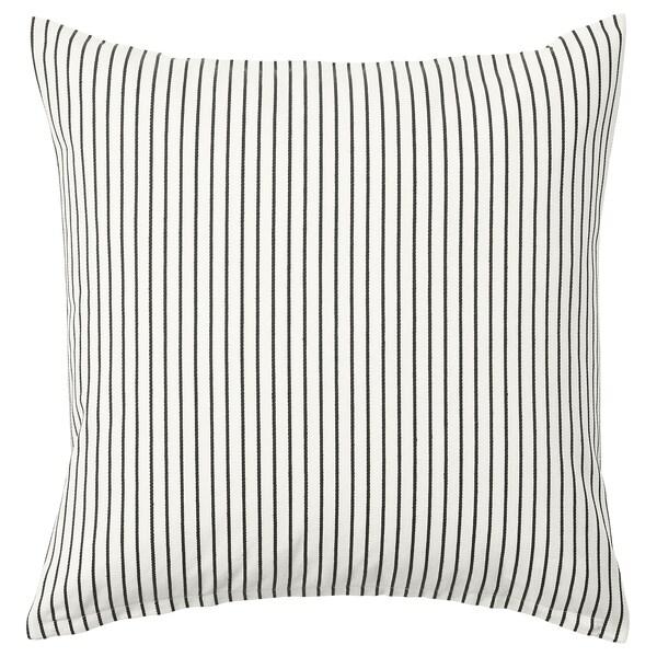Cuscini Righe.Ingalill Fodera Per Cuscino Bianco Grigio Scuro A Righe Ikea