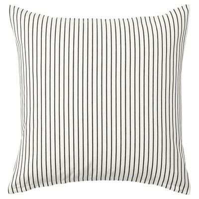 INGALILL Fodera per cuscino, bianco/grigio scuro a righe, 50x50 cm