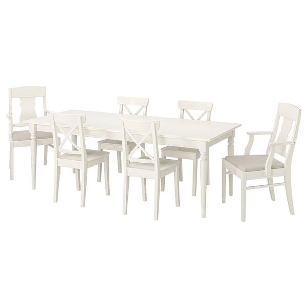 INGATORP INGOLF Tavolo e 6 sedie, bianco, Nordvalla beige