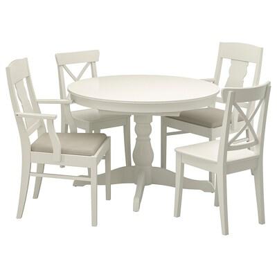 INGATORP / INGOLF Tavolo e 4 sedie, bianco/Nordvalla beige, 110/155 cm
