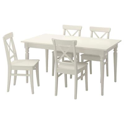 INGATORP / INGOLF Tavolo e 4 sedie, bianco, 155/215 cm