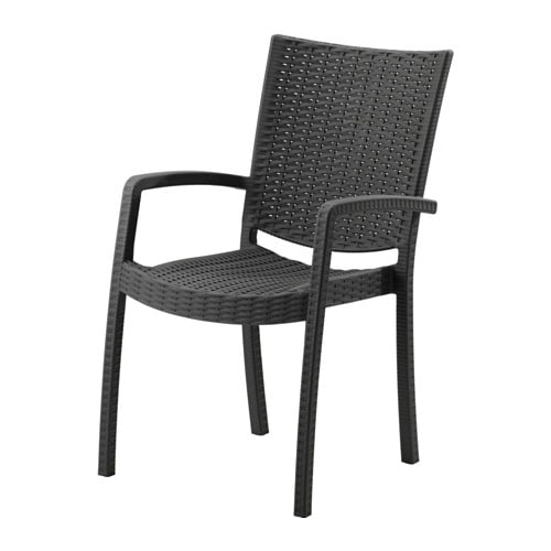 Innamo sedia con braccioli da giardino grigio scuro ikea for Sedia antica con braccioli