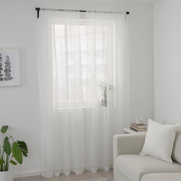 IRMALI Tenda sottile, 2 teli, bianco pois, 145x300 cm