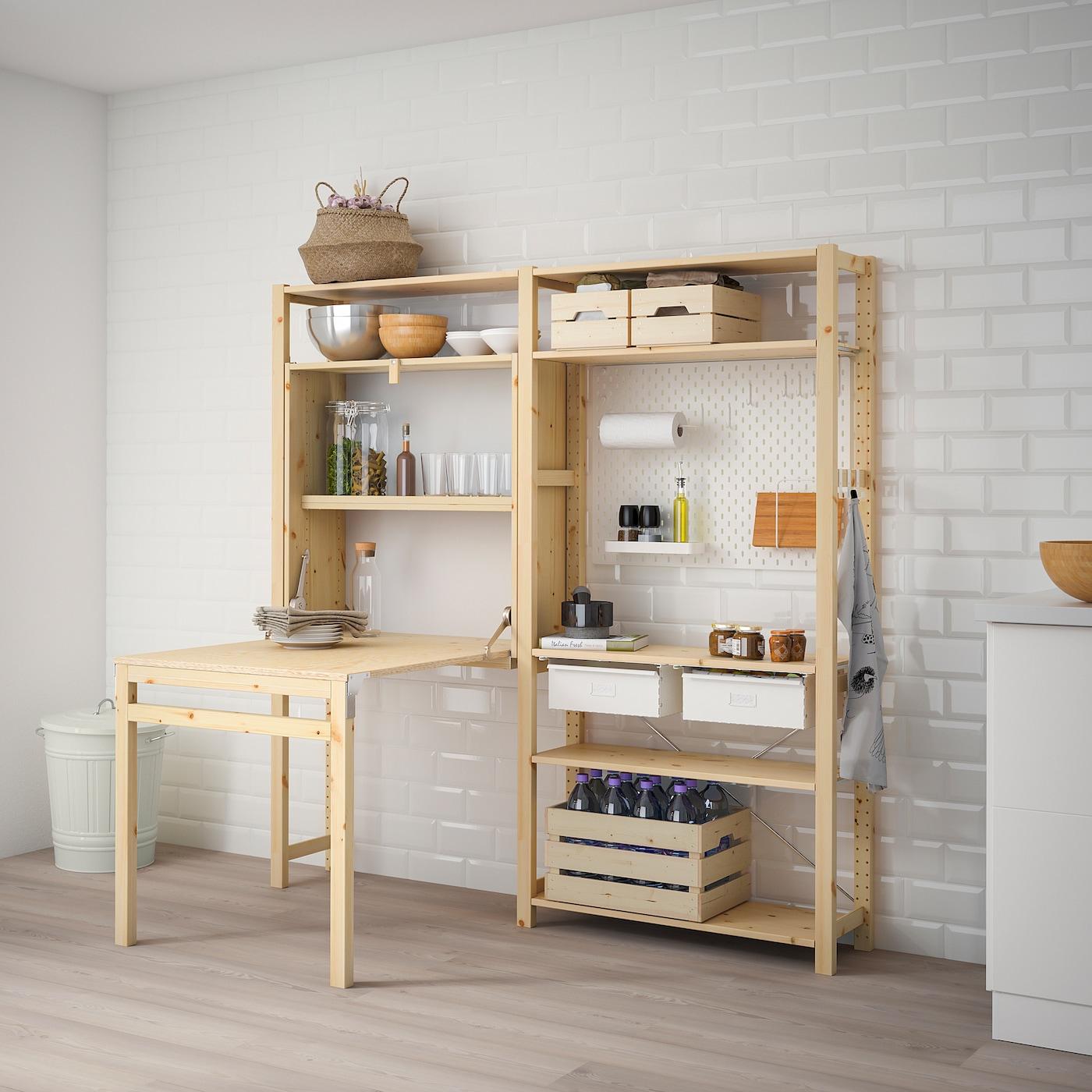 Tende Per Chiudere Ripostiglio ivar 2 sezioni/mobile tavolo pieghevole - pino, bianco 174x30-104x179 cm