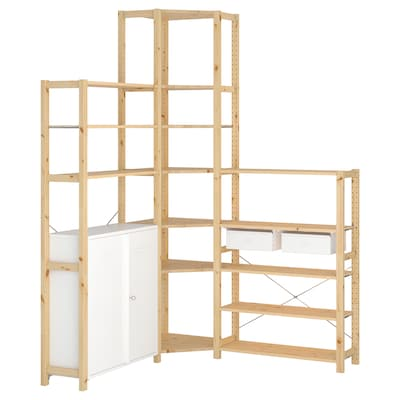 IVAR 3 sezioni/angolo, pino/bianco, 145/145x30x226 cm