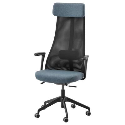 JÄRVFJÄLLET Sedia da ufficio con braccioli, Gunnared blu/nero