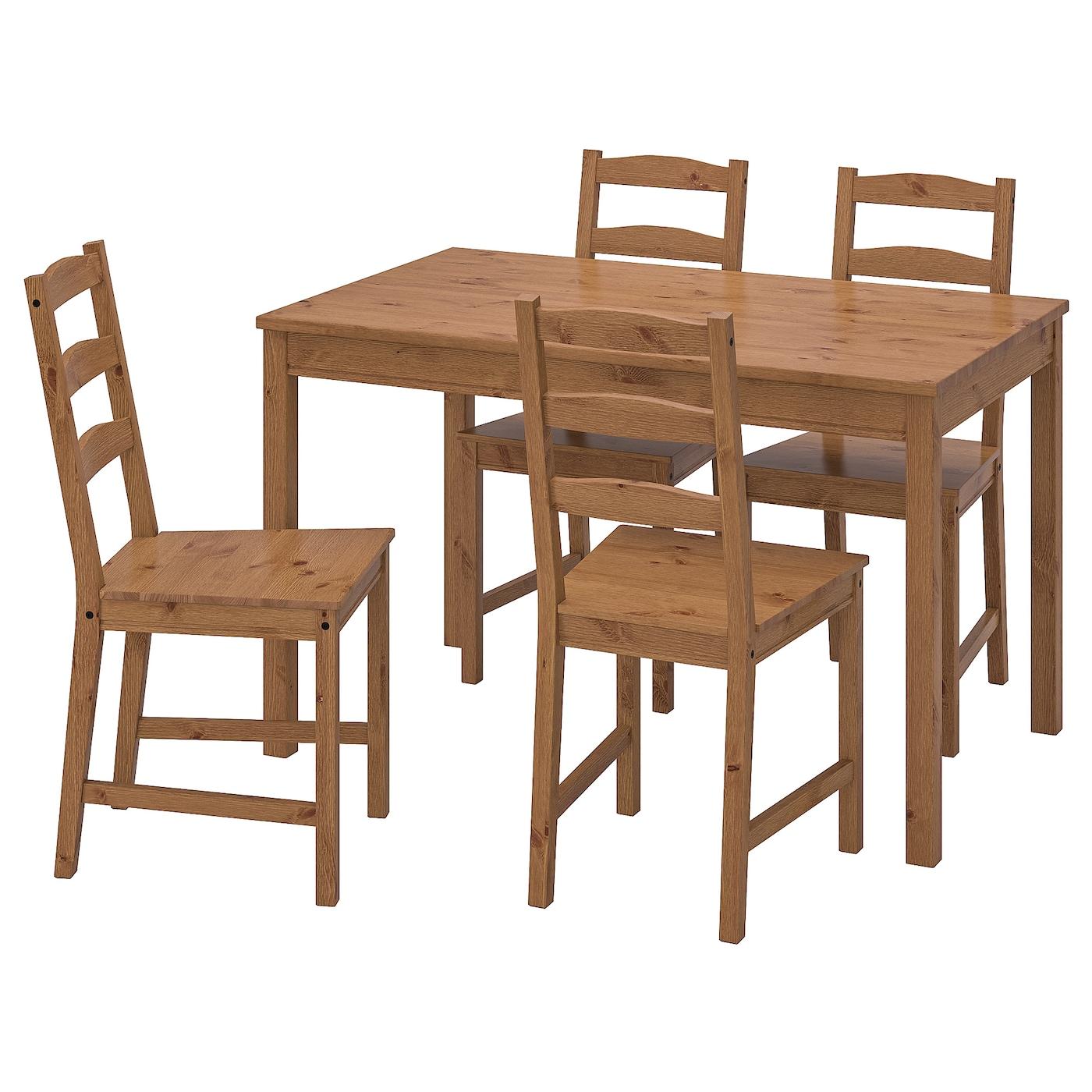 4 Sedie In Legno.Jokkmokk Tavolo E 4 Sedie Mordente Anticato Ikea It