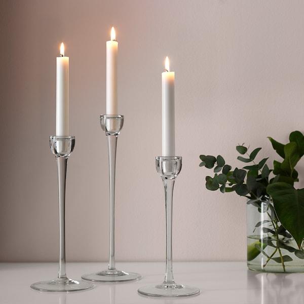 JUBLA Candela lampadario senza profumo, bianco, 19 cm