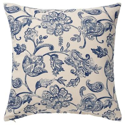 JUNIMAGNOLIA Fodera per cuscino, naturale/blu, 50x50 cm