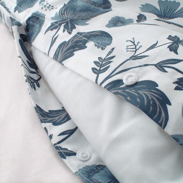 KÄLLFRÄNE Copripiumino e 2 federe, bianco/blu, 240x220/50x80 cm