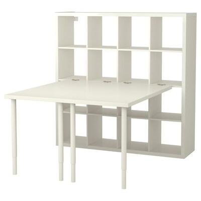 KALLAX Combinazione con scrivania, bianco, 147x147x159 cm