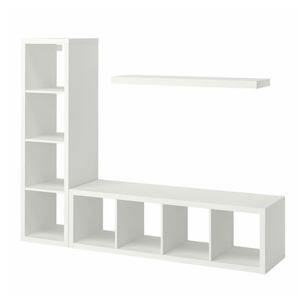 KALLAX / LACK Combinazione con ripiano, bianco, 189x39x147 cm