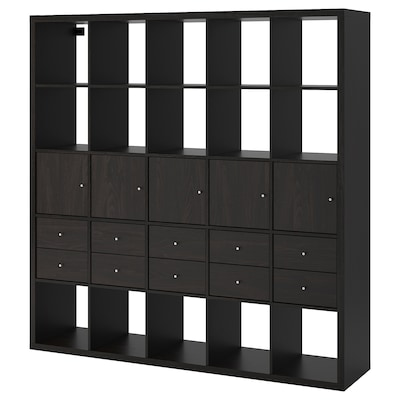 KALLAX Scaffale con 10 accessori, marrone-nero, 182x182 cm