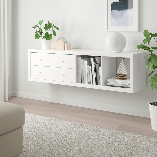 KALLAX Scaffale con 2 accessori, bianco, 42x147 cm