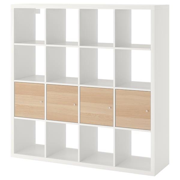 KALLAX Scaffale con 4 accessori, bianco/effetto rovere con mordente bianco, 147x147 cm