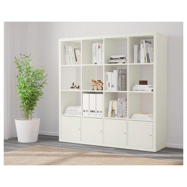 KALLAX Scaffale con 4 accessori, bianco, 147x147 cm